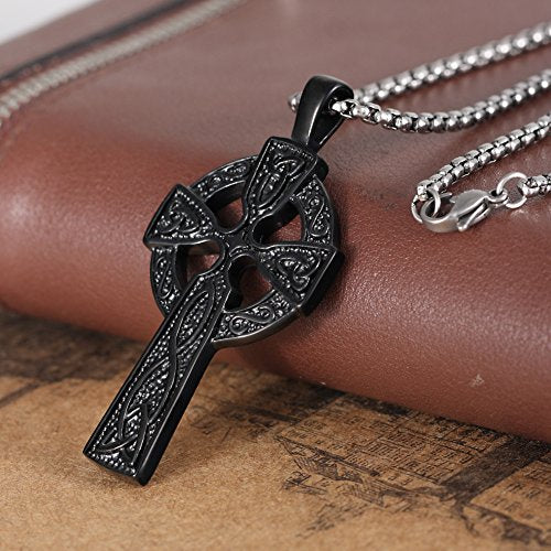 Stainless Steel Irish Knot Celtic Cross Pendant Necklace For Mens,24 Inches Link Chain,Jet Black - InnovatoDesign