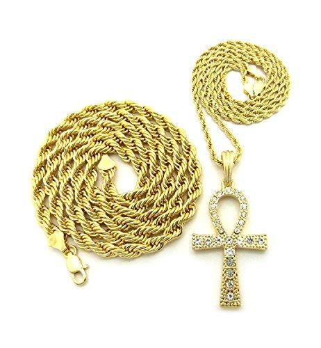 Gold-Tone Double Layer Two-Piece Set Egyptian Ankh Cross Rope Chain Necklace