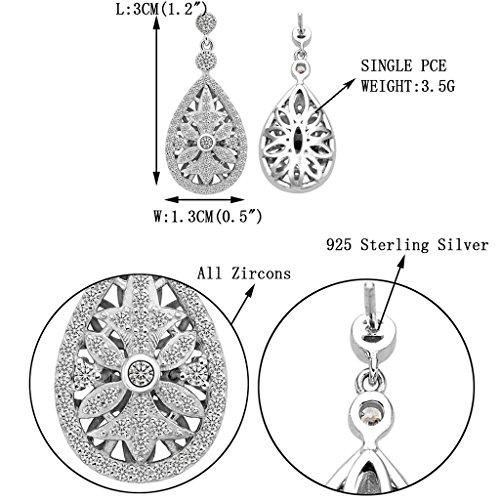 925 Sterling Silver Elegant Pave CZ Hollow-out Gastby Inspired Chandelier Earrings Clear
