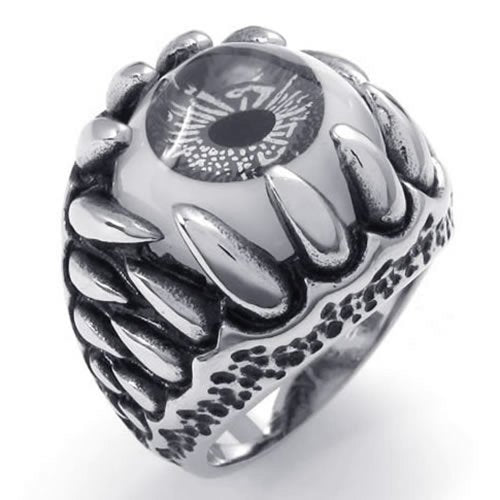 Stainless Steel Gothic Dragon Claw Devil Eye Biker Men Ring - InnovatoDesign