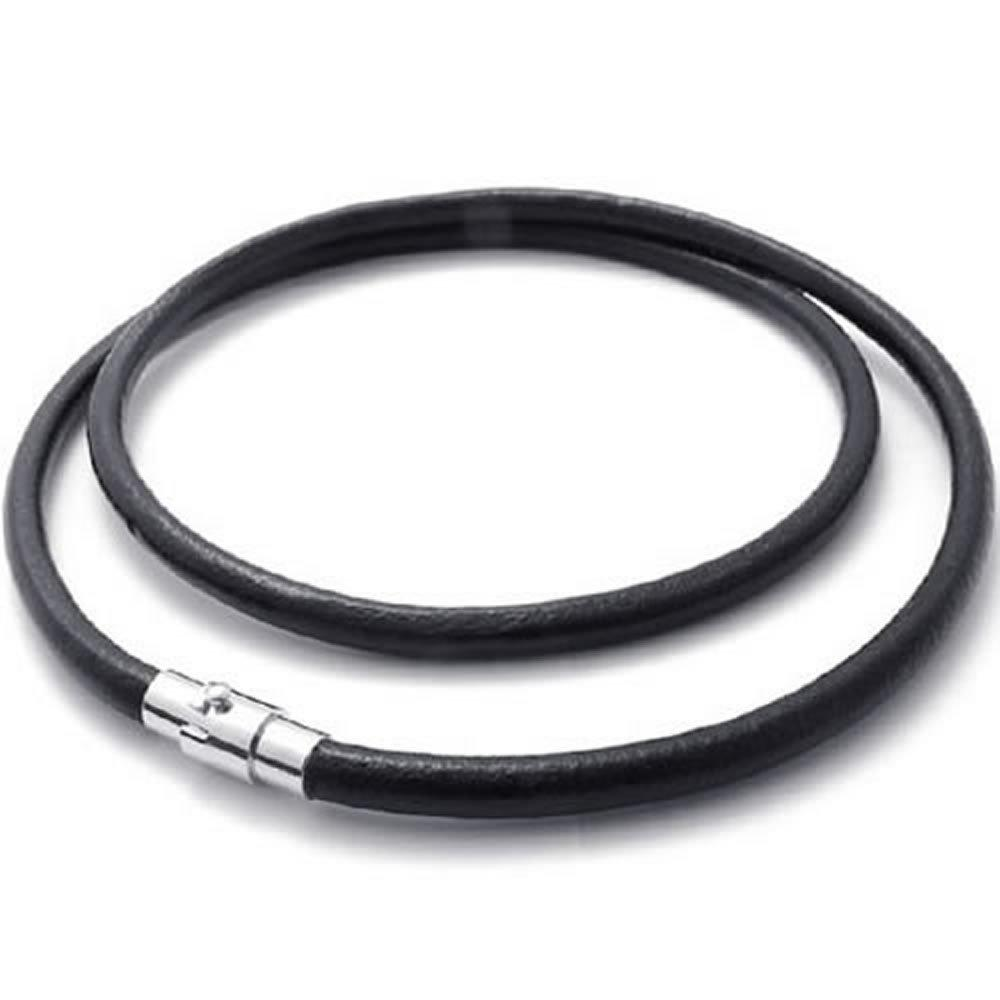 3 mm Men Women Genuine Leather Cord Necklace Chain Black