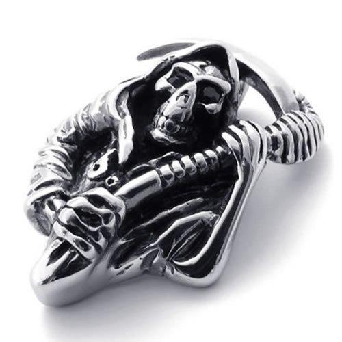 Casted Grim Reaper Skull Tribal Men Stainless Steel Necklace Pendant 24 inch Chain