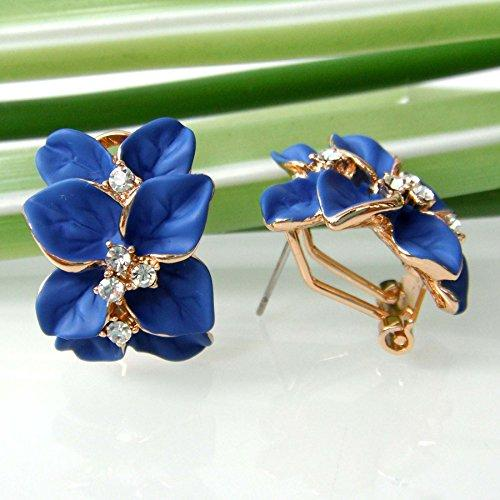 18k Gold Plated Crystal Blue Enamel Leaves Flower Omega Earrings