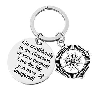 """Go Confidently in the Direction of Your Dreams"" Stamped Compass Keychain Ring"