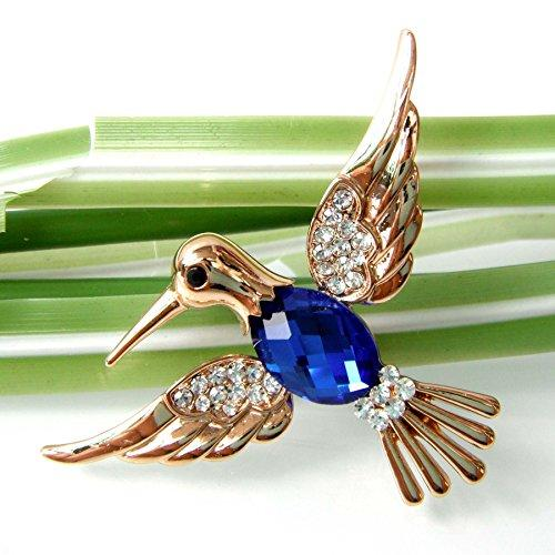 18k Gold Plated Blue Crystal Bird Hummingbird Az7007b Brooch Pin