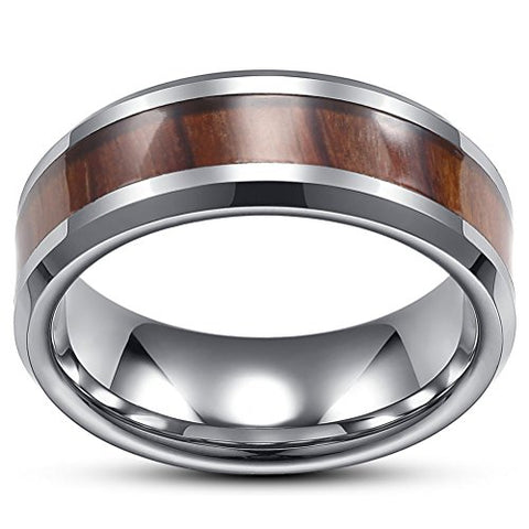 Tungsten Carbide Style with Wood Inlay Vintage Wedding Ring