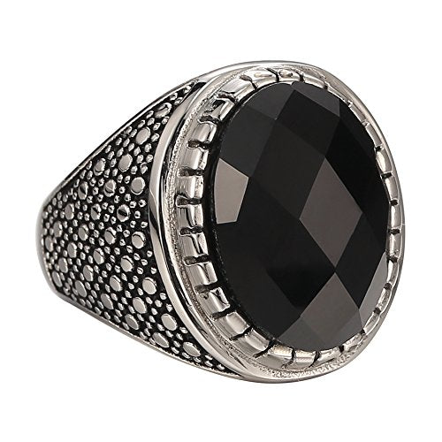 Men's Rings 316l Stainless Steel Classic Gothic Crystal Black Silvery