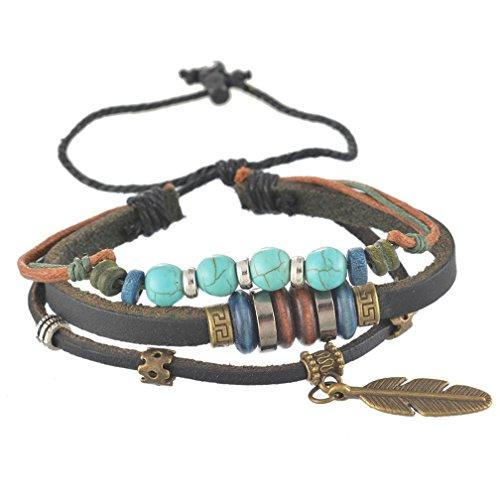 European Style Feather Pendant Turquoise Beads Pu Leather Cord Multi Strands Charm Bracelet