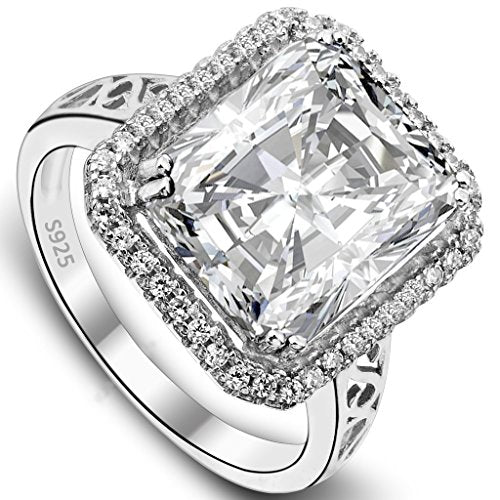 Women's 925 Sterling Silver 5 Carat Radiant Cut CZ Engagement Ring Clear - InnovatoDesign