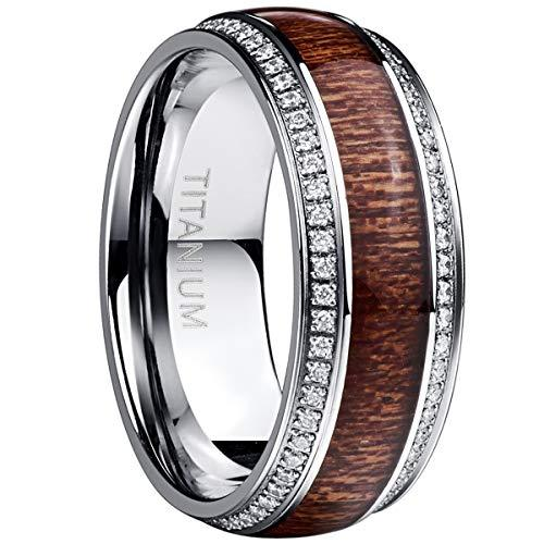 8MM Titanium Men's Wedding Band Ring Hawaiian Koa Wood Cubic Zirconia Inlaid Comfort Fit