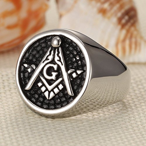 Vintage Embossed Freemason Masonic Stainless Steel Men Highly Polished Ring Silver black