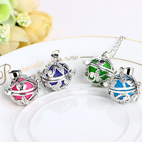 Silver Color Aromatherapy Essential Oil Diffuser Locket Pendant Necklace with 6 Colorful Balls - InnovatoDesign