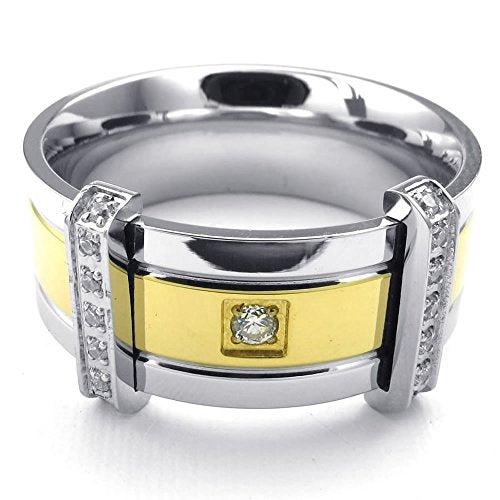 Men Cubic Zirconia Stainless Steel Ring, Classic Wedding Band,