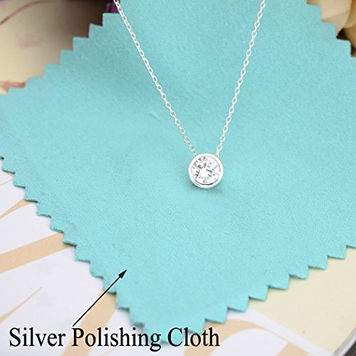 Sterling Silver 7MM Round Cubic Zirconia Bezel Setting Solitaire Pendant Necklace Clear - InnovatoDesign