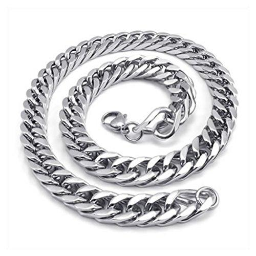 Heavy Large Men Stainless Steel Necklace Link Chain - Silver - Length 22 inch