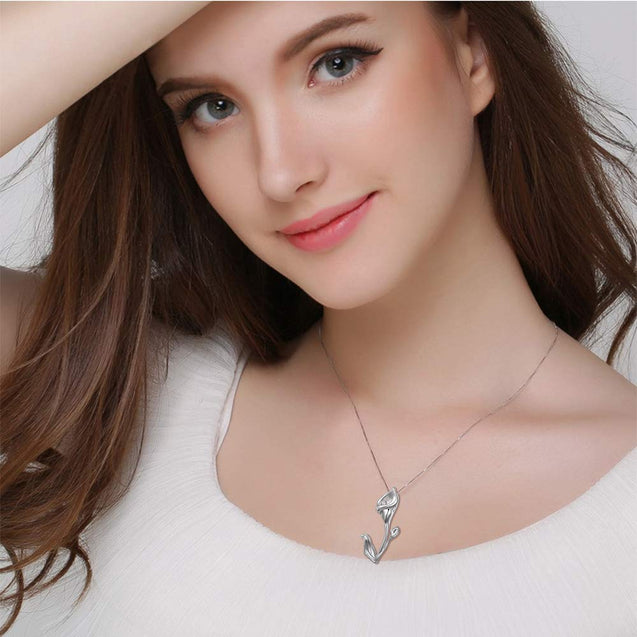 S925 Sterling Silver Love Calla Lily Flower Pendant Necklace for Women 18 - InnovatoDesign