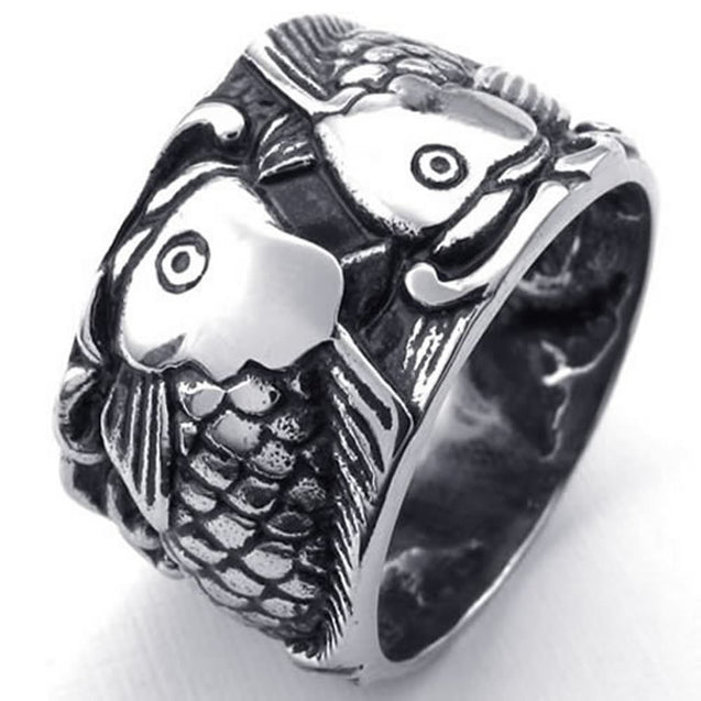 Men Stainless Steel Ring, Vintage Carp Fish, Black - InnovatoDesign