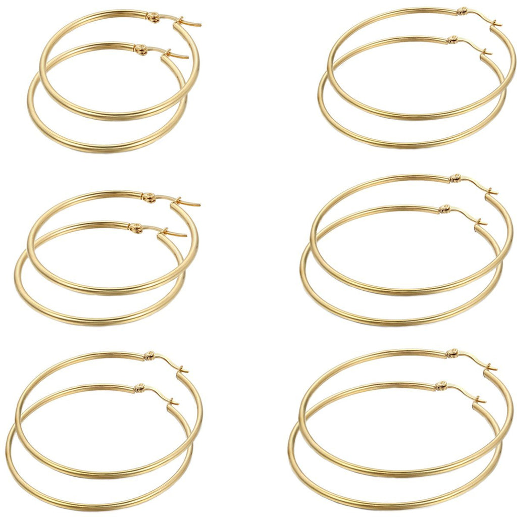 12PCS Stainless Steel Large Circle Hoop Earrings for Women Gold Tone