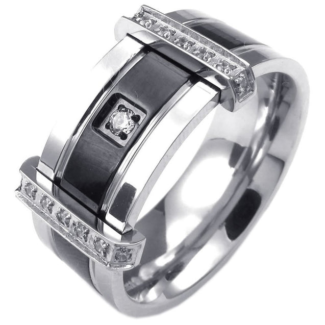 Men Cubic Zirconia Stainless Steel Ring, Charm Elegant Wedding Band, Black