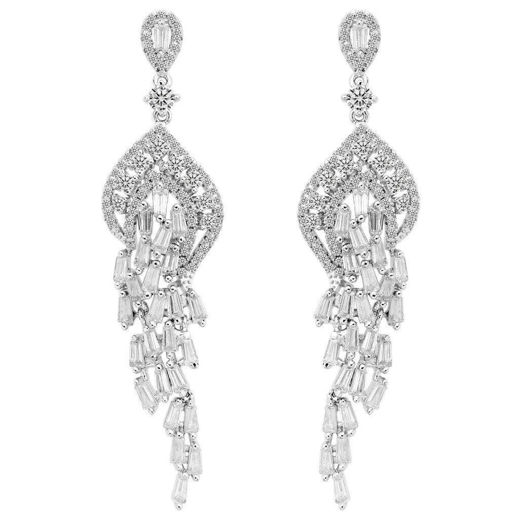 925 Sterling Silver Cubic Zirconia Art Deco Tassel Chandelier Dangle Earrings Clear