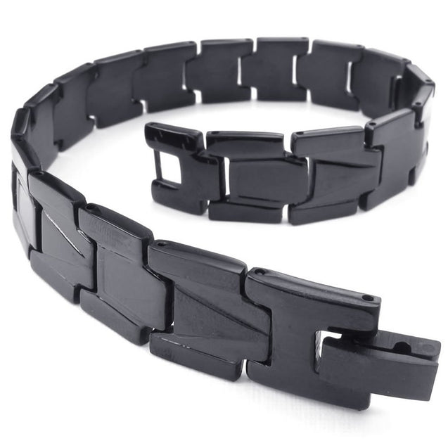 Men Stainless Steel Bracelet, Classic Link Wrist, Black - InnovatoDesign