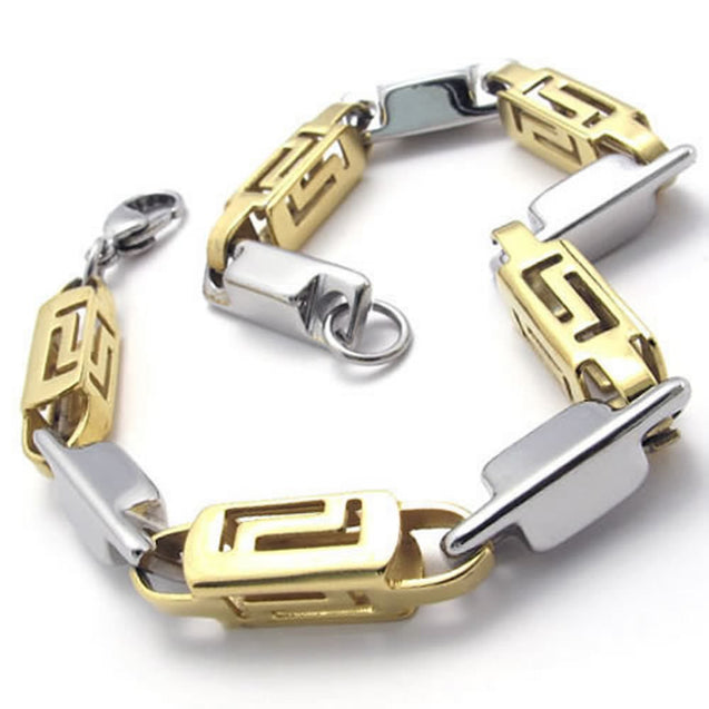 Stainless Steel Link Men Bracelet, Gold Silver, 9 Inch - InnovatoDesign