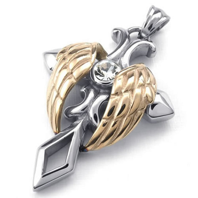 Stainless Steel Men Women Angel Wing Cross Pendant Necklace, 24 inch Chain - InnovatoDesign