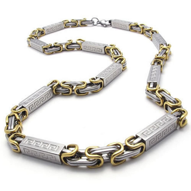 Stainless Steel Men Necklace Link Chain - Silver Gold - Length 22 inch - InnovatoDesign
