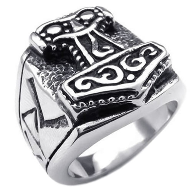Massiness Vintage Stainless Steel Thor's Hammer Ring - InnovatoDesign