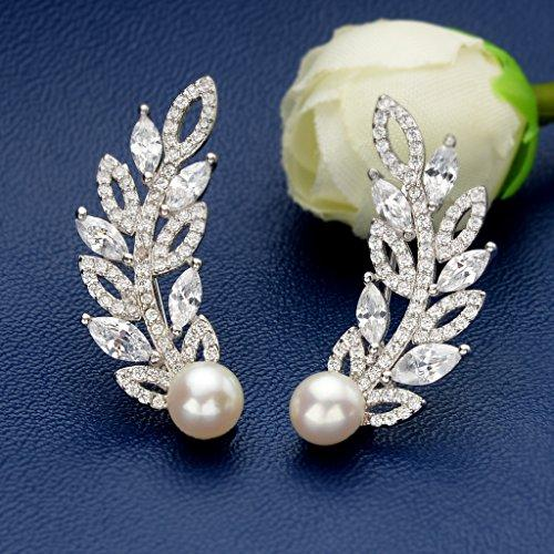 925 Sterling Silver CZ 6MM Freshwater Cultured Pearl Sweep Ear Cuff Hook Earrings Clear