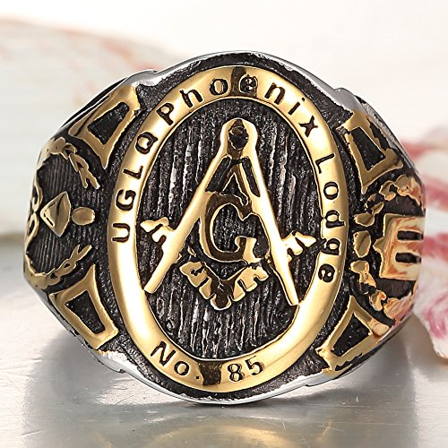 Men's 18k Gold Plated stainless steel Masonic Vintage Ring /Mason Signet Ring/G Mason Master Freemason Ring
