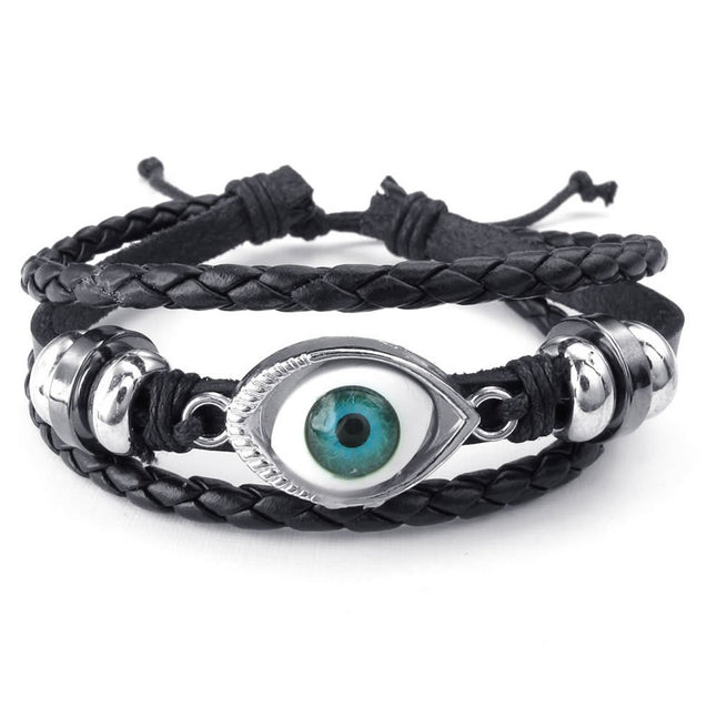 Men Women Leather Bracelet, Blue Evil Eye Adjustable Bangle, Black Silver