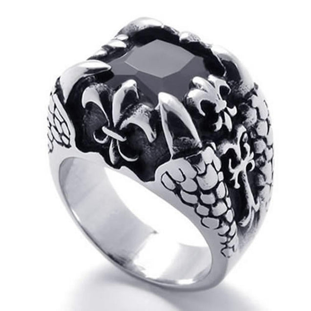 Dragon Claw Stainless Steel Band Men Ring Black