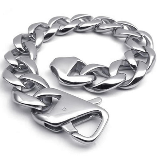 Heavy Wide Polished Stainless Steel Biker Men Bracelet, Color Silver, 17mm, 9 Inch