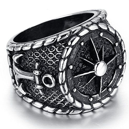 Men Stainless Steel Ring, Biker, Silver, Black, Anchor