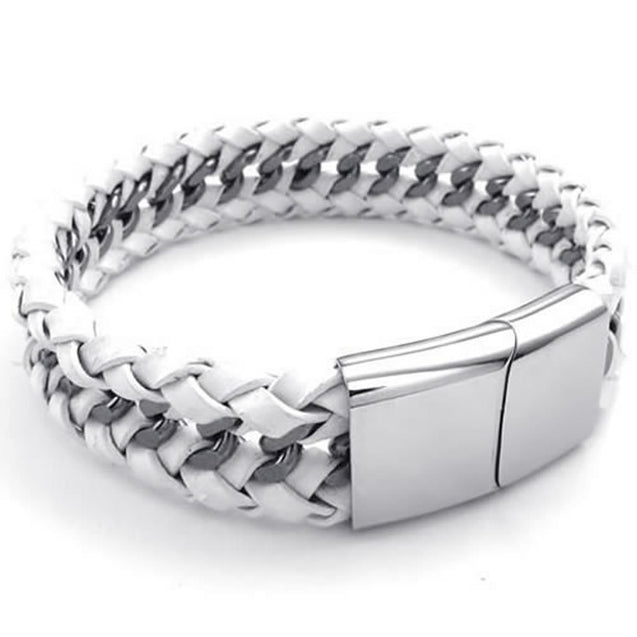 Men Leather Stainless Steel Bracelet, Wide Cuff Bangle, 8.5 inch, White Silver - InnovatoDesign