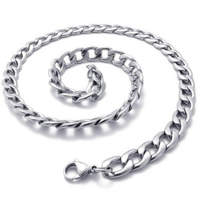"8mm Men Silver Stainless Steel Necklace Chain 14-40"" inch, 8mm"