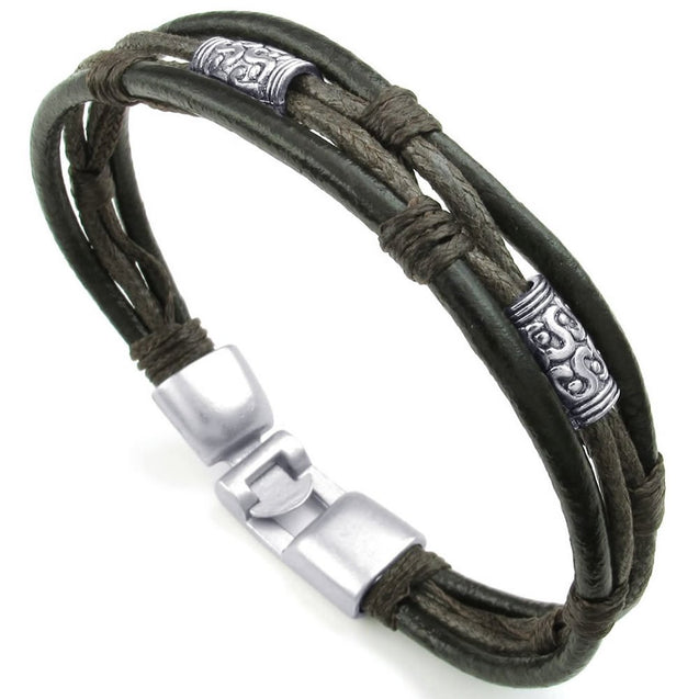Men Women Leather Rope Bracelet, Tribal Braided Cuff Bangle, Brown Black Silver