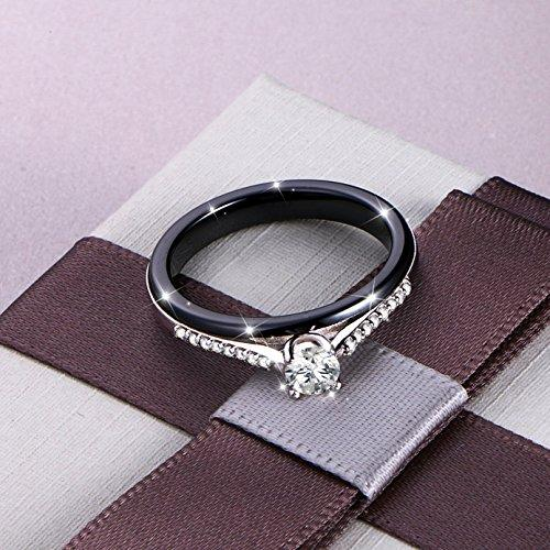 Black Ceramic S925 Sterling Silver Bridal Ring for Women Wedding Engagement Princess Ring