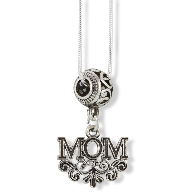 Mom with Scrolls and Scrolled Fitting Charm Snake Chain Necklace - InnovatoDesign