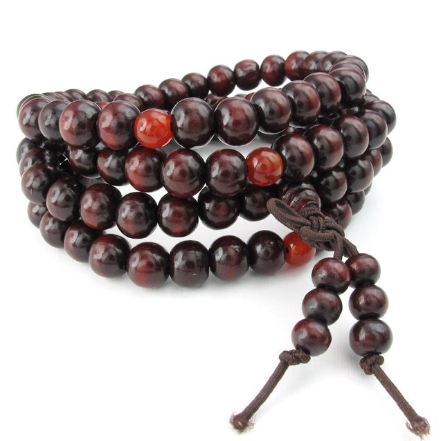 Men Women Wood Bracelet, 8mm Tibetan Buddhist Sandalwood Beads Prayer Mala Necklace, Red