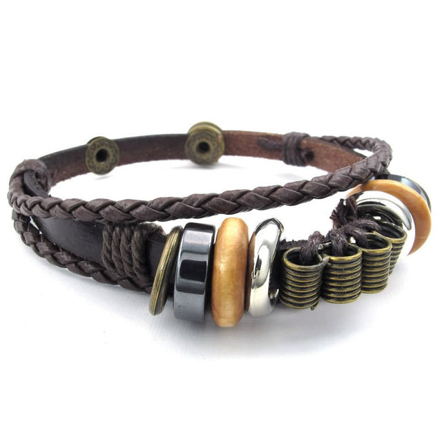 Men Women Leather Bracelet, Braided Tribal Charms Wrap, Brown - InnovatoDesign
