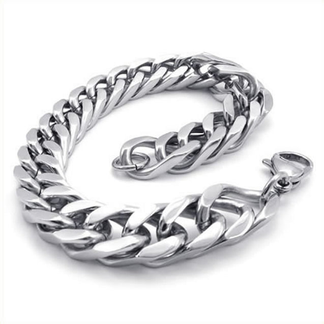 Stainless Steel Wide Link Men Bracelet, Silver, 8 1/2 Inch