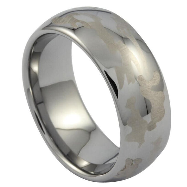 Men Women 8mm Tungsten Carbide Camouflage Ring Hunting Engagement Wedding Camo Silver Band Comfort Fit - InnovatoDesign