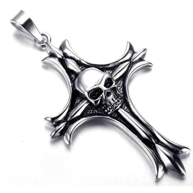 Jewelry Men Gothic Biker Skull Motorcycle Stainless Steel Pendant Necklace, Cross - InnovatoDesign