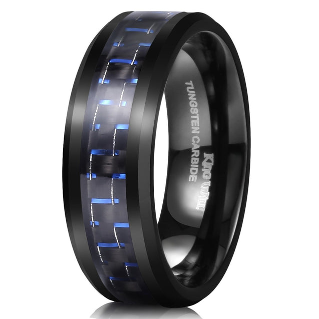 GENTLEMAN Tungsten 8 mm Black and Blue Carbon Fiber Inlay High Polish Men's Wedding Band Ring