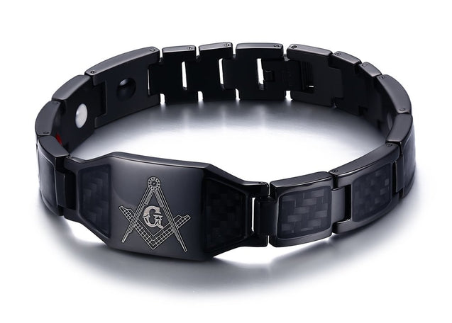 Stainless Steel Black Carbon Fiber Enamel Masonic Magnetic Bracelets for Men