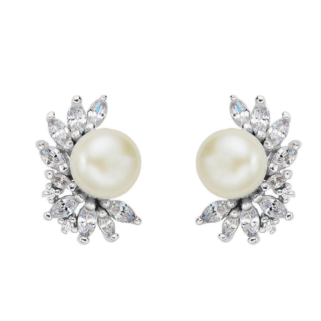 925 Sterling Silver CZ 8MM Cream AAA Freshwater Cultured Pearl Fashion Stud Earrings Clear