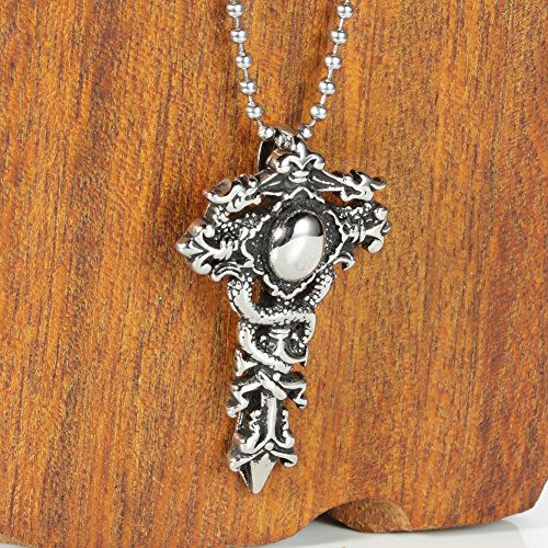 Men 316l Stainless Steel Cross Double Dragon Pendant Necklace +Free 24'' Chain