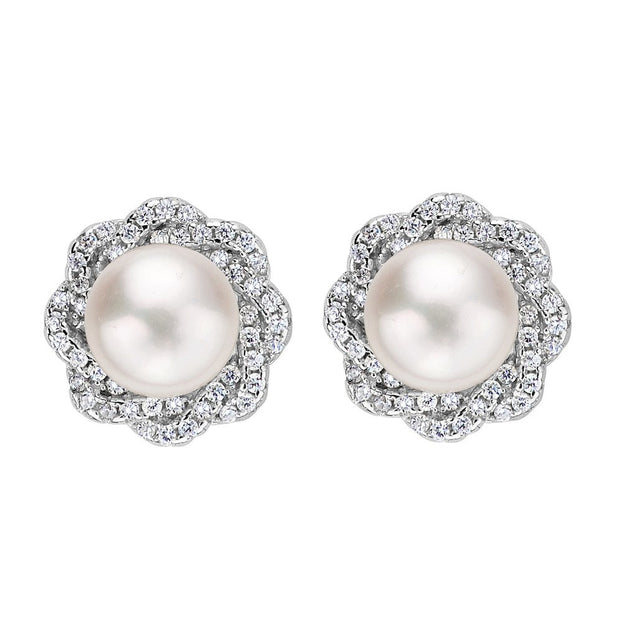 Sterling Silver 9MM AAA Freshwater Cultured Pearl CZ Elegant Floral Stud Earrings - InnovatoDesign